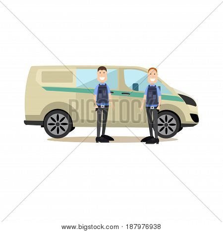 Vector illustration of collectors standing next to armored bank car. Bank people concept flat style design elements, icons isolated on white background.