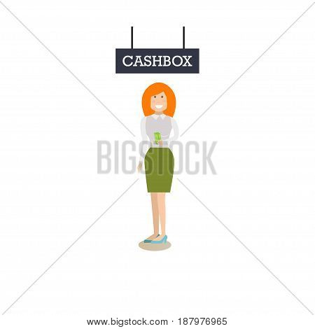 Vector illustration of bank teller, manager or customer female with credit card and cashbox signage. Bank people concept flat style design element, icon isolated on white background.