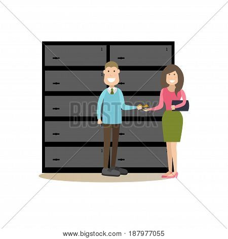 Vector illustration of bank employee male giving key from safe deposit box to client female. Bank people concept flat style design elements, icons isolated on white background.