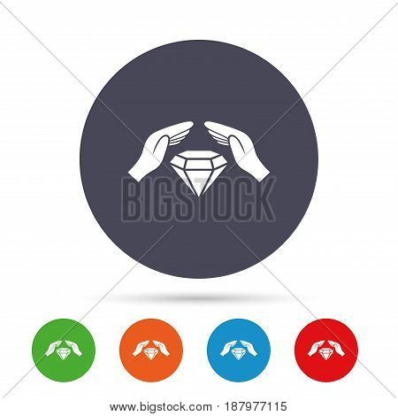 Jewelry insurance sign icon. Hands protect cover diamonds symbol. Brilliants insurance. Round colourful buttons with flat icons. Vector