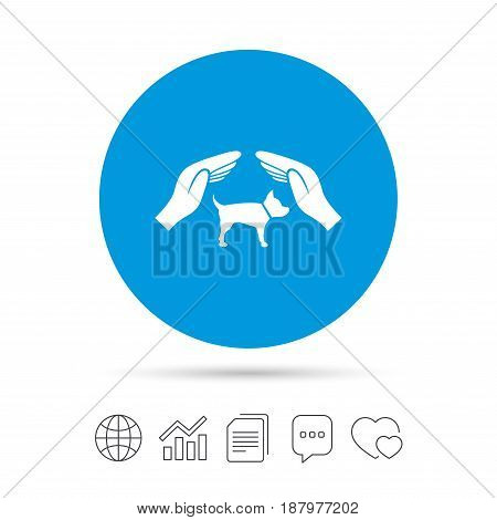 Protection of animals pets sign icon. Hands protect dog symbol. Shelter for dogs. Animals insurance. Copy files, chat speech bubble and chart web icons. Vector