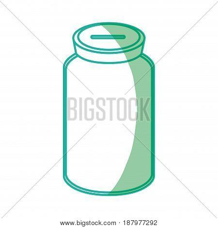 silhouette glass bottle to save cash money, vector illustration