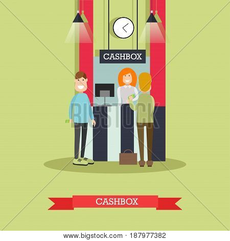 Vector illustration of bank teller female and customers males standing next to cashbox or cash department. Banking services concept design element in flat style.
