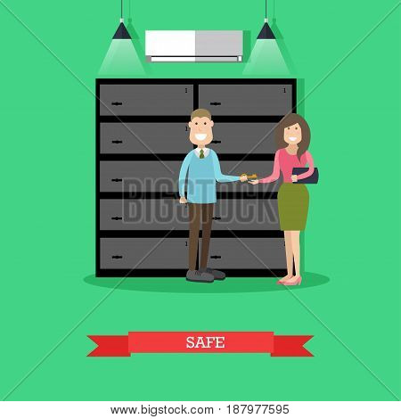 Vector illustration of bank safe deposit boxes, bank employee male giving key to client female. Banking services concept design element in flat style.