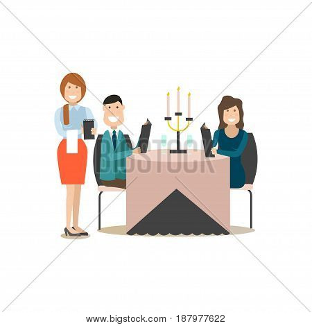 Restaurant guests vector illustration. Visitors man and woman sitting at table and reading menu. Waitress taking order. Flat style design elements isolated on white background.