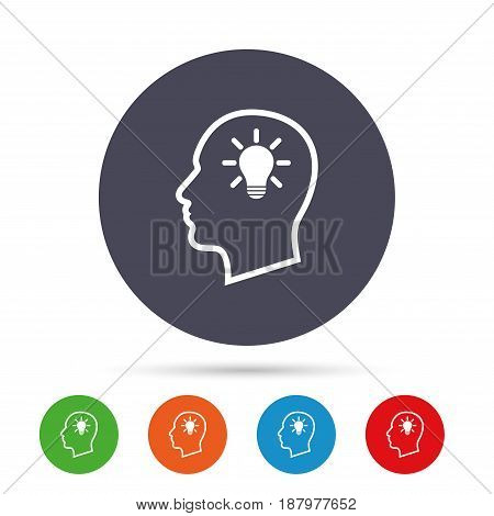 Head with lamp bulb sign icon. Male human head idea symbol. Round colourful buttons with flat icons. Vector