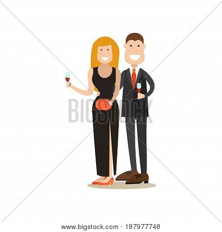 Restaurant guests vector illustration. Visitors man and woman with wineglasses flat style cartoon characters isolated on white background.