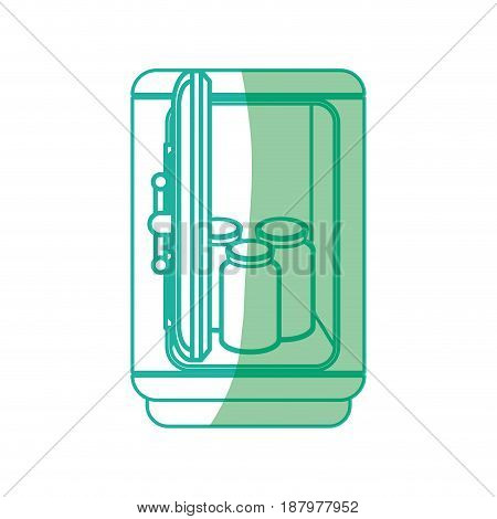 silhouette metal strong box with glass bottles, vector illustration