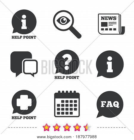 Help point icons. Question and information symbols. FAQ speech bubble signs. Newspaper, information and calendar icons. Investigate magnifier, chat symbol. Vector