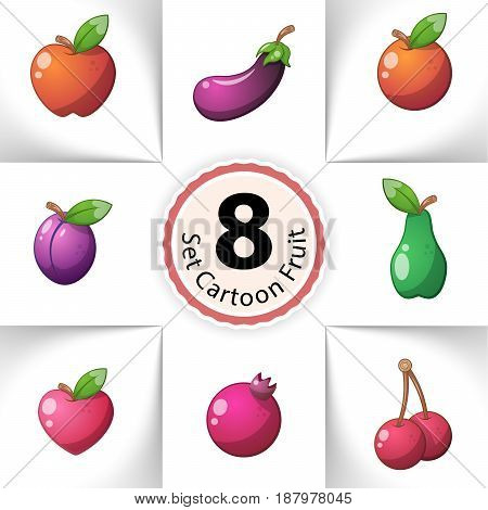 Icons fresh fruit. Pineapple, pear, lemon, melon, mango, orange kiwi lime apricots cherries apple pear heart Cartoon illustration