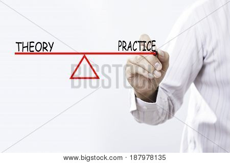 Businessman hand drawing Theory and Practice balance - Business concept.