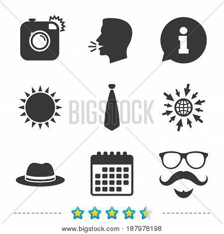 Hipster photo camera. Mustache with beard icon. Glasses and tie symbols. Classic hat headdress sign. Information, go to web and calendar icons. Sun and loud speak symbol. Vector