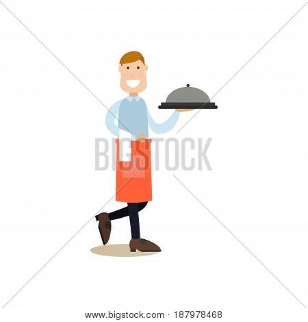 Vector illustration of waiter holding dish in silver platter. Cook people concept flat style design element, icon isolated on white background.