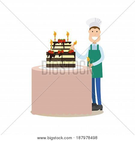 Vector illustration of confectioner decorating two tiered birthday cake with candles. Cook people concept flat style design element, icon isolated on white background.