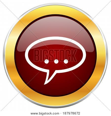 Forum red web icon with golden border isolated on white background. Round glossy button.
