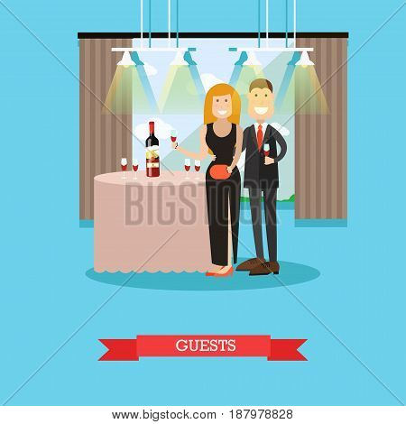 Restaurant guests vector illustration. Visitors man and woman standing next to table with wine bottle and wineglasses. Restaurant interior. Flat style design.