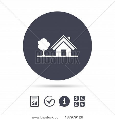 Home sign icon. House with tree symbol. Report document, information and check tick icons. Currency exchange. Vector