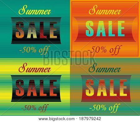 Cards with inscriptions for retail. Striped artistic font. Summer sale. Fifty percents off. illustration