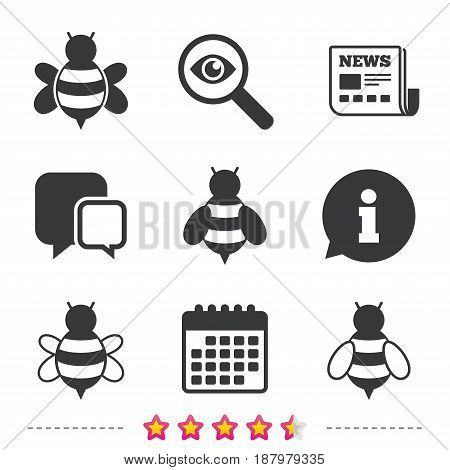 Honey bees icons. Bumblebees symbols. Flying insects with sting signs. Newspaper, information and calendar icons. Investigate magnifier, chat symbol. Vector