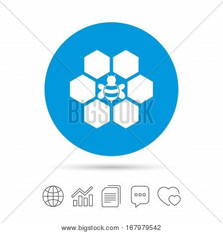 Honeycomb with bee sign icon. Honey cells symbol. Sweet natural food. Copy files, chat speech bubble and chart web icons. Vector