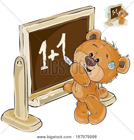 Vector illustration of a brown teddy bear is standing by the blackboard and is writing on it with chalk mathematical calculations. Print, template, design element