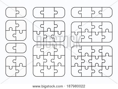 Jigsaw puzzle vector templates set of different blank simple pieces