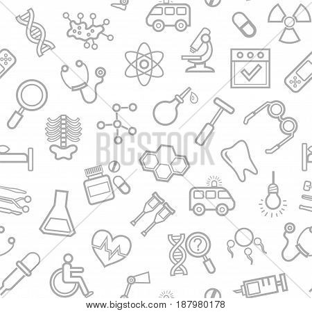 Medicine, white background, seamless, contour icons, vector. Medical services specialization. The profession of doctors. Medical instruments. Gray line drawings on a white field. Vector background.