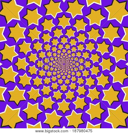 Optical motion illusion background. Yellow six pointed stars fly apart circularly from the center on blue background.