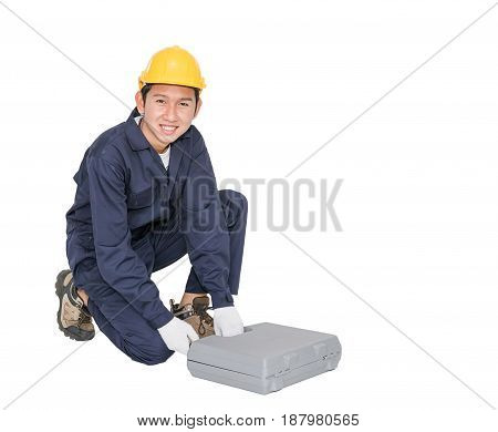 Young Handyman Sitting With His Tool Box