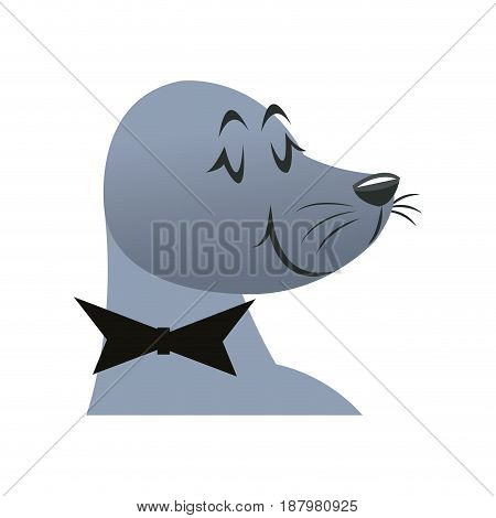 cartoon head seal circus carnival with bowtie vector illustration