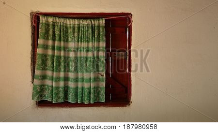 A window with a cotton tent in Africa