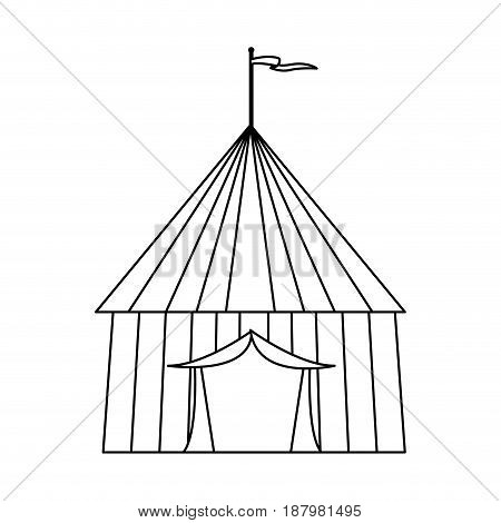 circus tent tops. outline stripes flag on top vector illustration