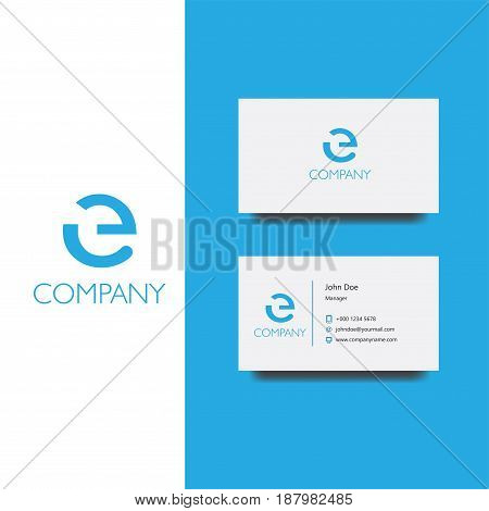 Vector eps logo with e letter company vector, Business Card Template, icon design