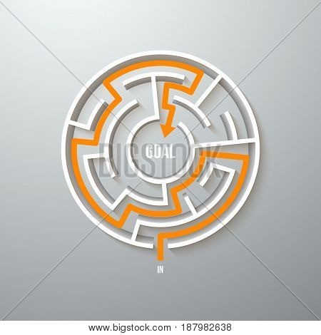 Illustration of Vector Maze Labyrinth Simple Icon. Greek Puzzle Challenge with Solution. Maze with Way In and Out