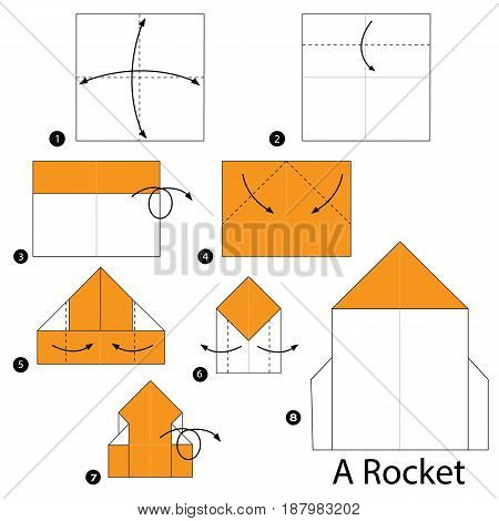 step by step instructions how to make origami A Rocket.
