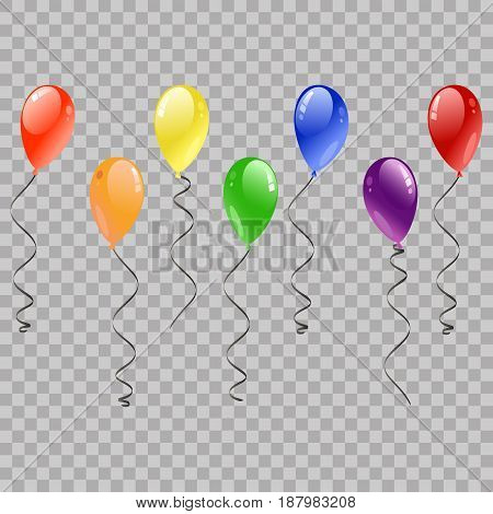 Festive Balloons Flying for Party and Celebrations on transparent Background. Colorful realistic helium balloons. Party decoration for birthday anniversary celebration. multicolored design.