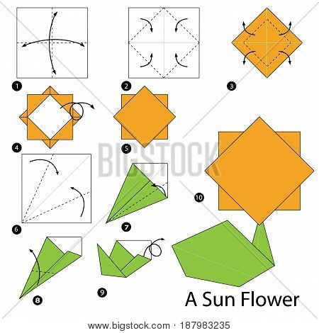 step by step instructions how to make origami A Sun Flower.