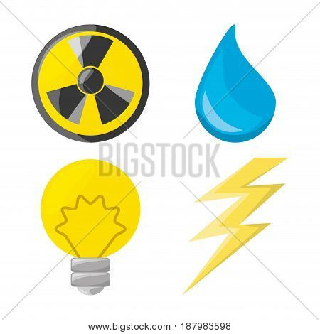 flat icon releated with nuclear energy, drop water, bulb and ray, vector illustration