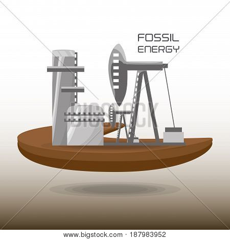landscape related with fossil energy, vector illustration