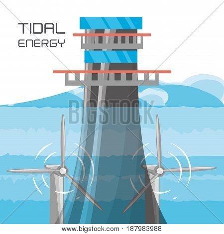 landscape related with tidal energy, vector illustration