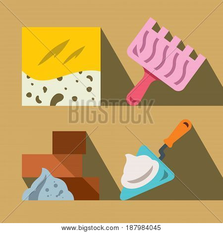Tile, trowel, bricks and trowel. Isolated on a color background