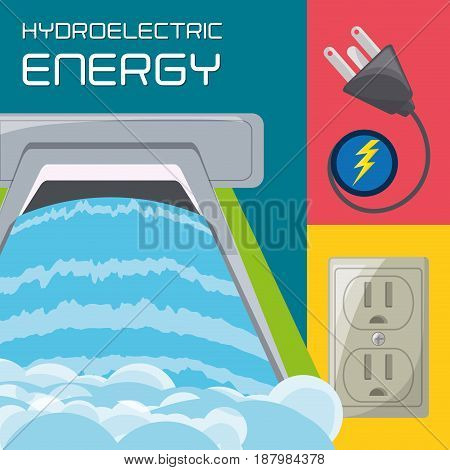 flat concept hydroelectry plant generator energy, plug and connecter icon, vector illustration