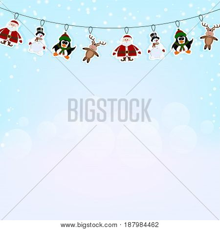 Christmas blue background with a garland of paper reindeer penguin and Santa Claus. Vector illustration.