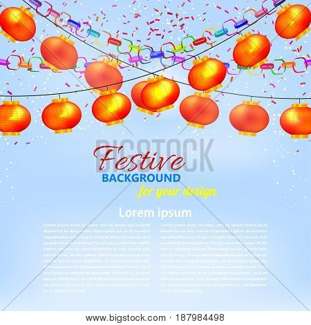 Winter blue background with a garland of orange Chinese lanterns paper chains and confetti. Vector illustration.