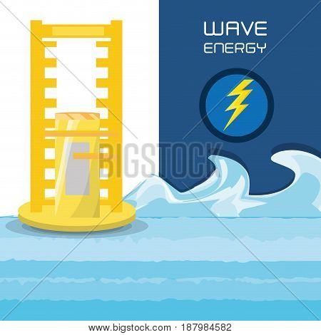 flat concept related with wave energy, vector illustration