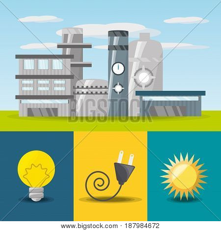 flat concept related with power plant, bulb, connecter and sun icon, vector illustration