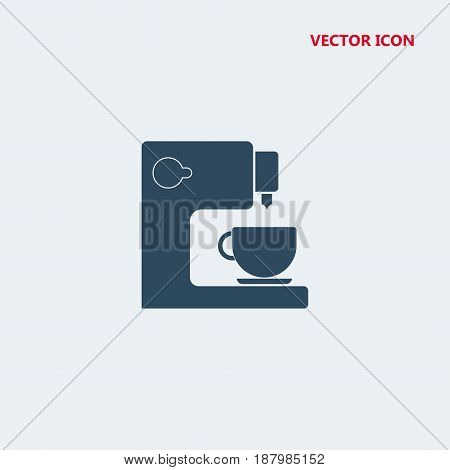 coffee maker with cup vector icon isolated on white background
