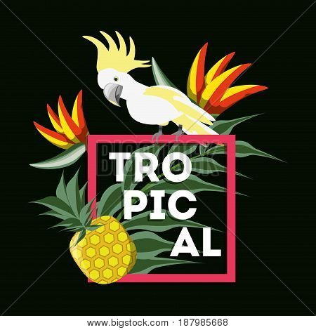 beautiful exotic yellow cockatoo with palms, fruits, and tropical flowers, vector illustration