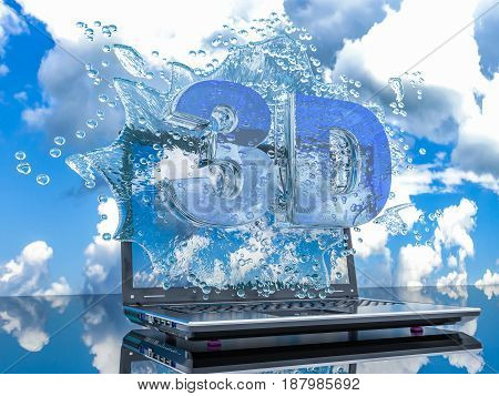 Splash water from the laptop screen with symbols 3d 3d render