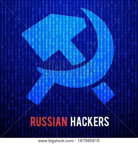 Russian hackers concept with hammer and sickle symbol. Abstract Matrix Background. Binary Computer Code. Coding and Hack concept. Vector Tech Background Illustration.